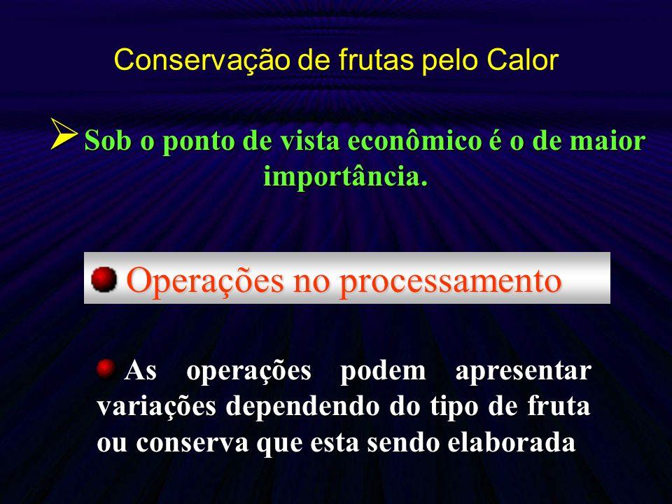 Conservação de frutas pelo Calor Operações no processamento Operações no processamento As operações podem apresentar variações dependendo do tipo de f