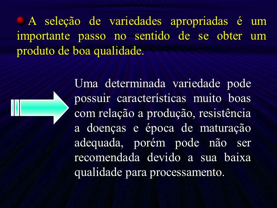 Uma determinada variedade pode possuir características muito boas com relação a produção, resistência a doenças e época de maturação adequada, porém p