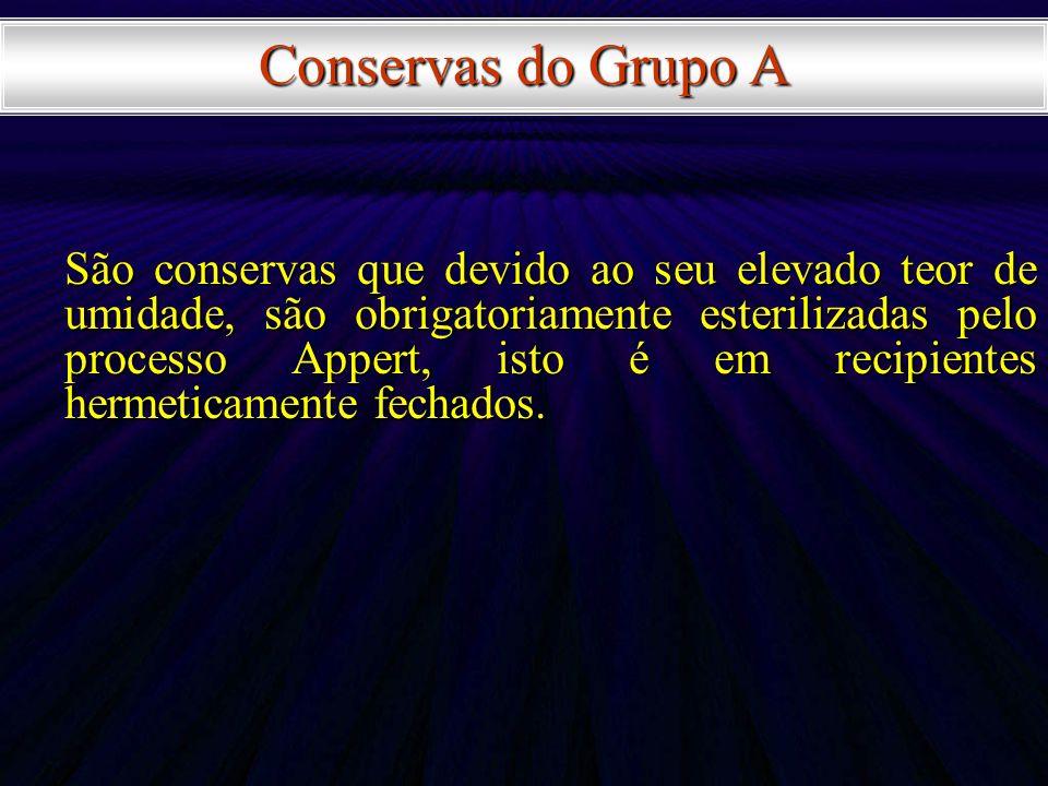 Conservas do Grupo A São conservas que devido ao seu elevado teor de umidade, são obrigatoriamente esterilizadas pelo processo Appert, isto é em recip