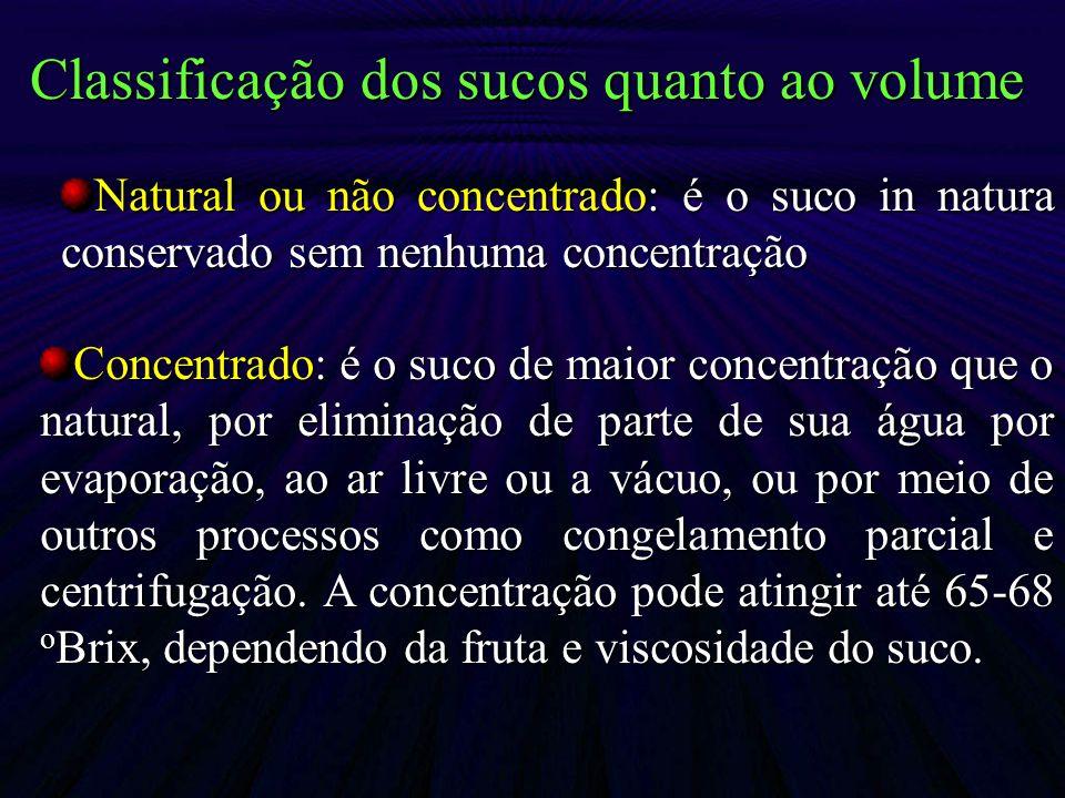 Natural ou não concentrado: é o suco in natura conservado sem nenhuma concentração Concentrado: é o suco de maior concentração que o natural, por elim