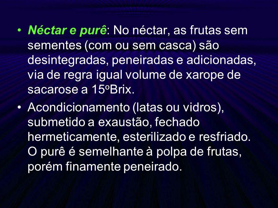 Néctar e purê: No néctar, as frutas sem sementes (com ou sem casca) são desintegradas, peneiradas e adicionadas, via de regra igual volume de xarope d