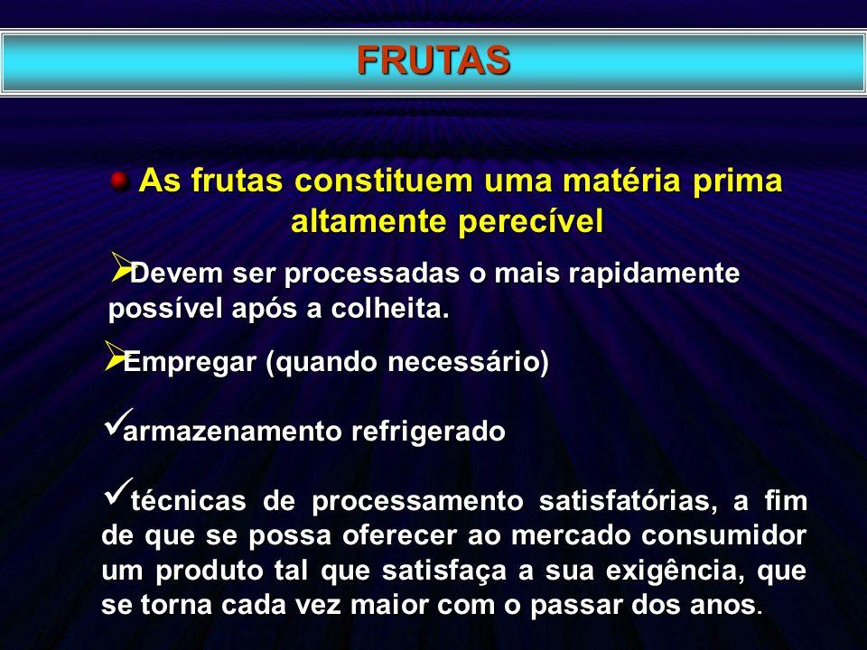 FRUTAS As frutas constituem uma matéria prima altamente perecível As frutas constituem uma matéria prima altamente perecível Devem ser processadas o m