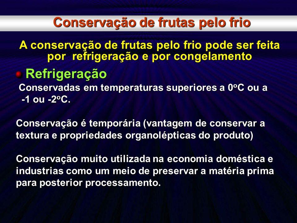 Conservação de frutas pelo frio A conservação de frutas pelo frio pode ser feita por refrigeração e por congelamento Refrigeração Refrigeração Conserv
