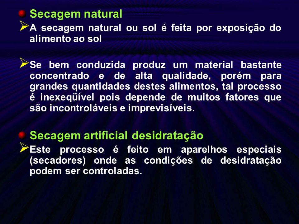 Secagem natural A secagem natural ou sol é feita por exposição do alimento ao sol Se bem conduzida produz um material bastante concentrado e de alta q