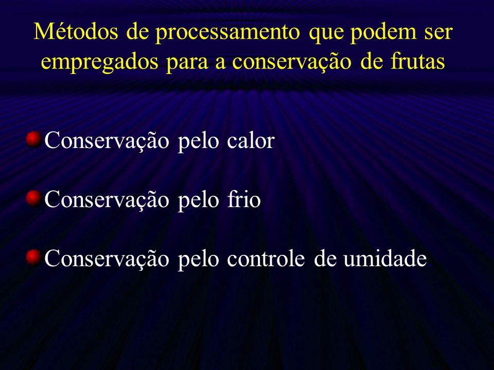 Métodos de processamento que podem ser empregados para a conservação de frutas Conservação pelo calor Conservação pelo frio Conservação pelo controle