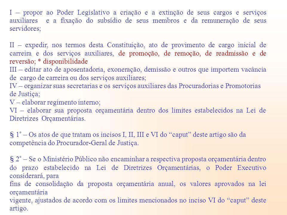 I – propor ao Poder Legislativo a criação e a extinção de seus cargos e serviços auxiliares e a fixação do subsídio de seus membros e da remuneração d
