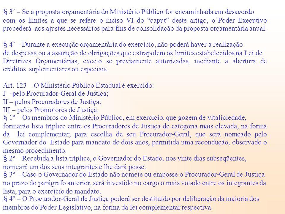 § 3° – Se a proposta orçamentária do Ministério Público for encaminhada em desacordo com os limites a que se refere o inciso VI do caput deste artigo,