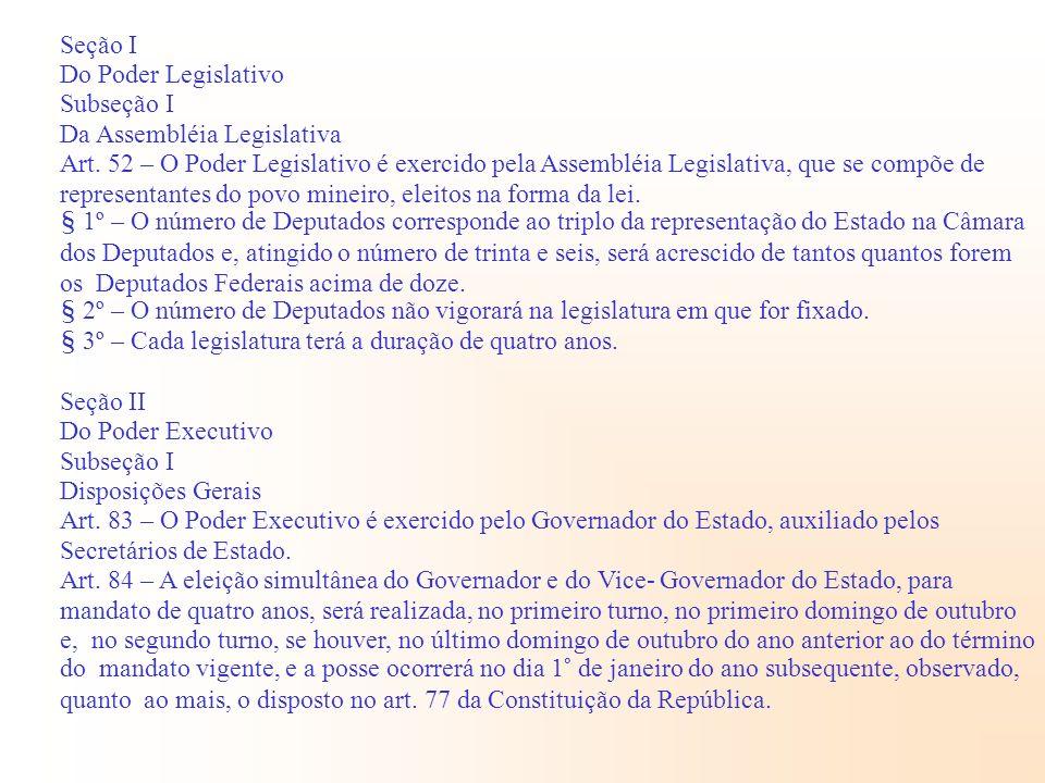 Seção I Do Poder Legislativo Subseção I Da Assembléia Legislativa Art. 52 – O Poder Legislativo é exercido pela Assembléia Legislativa, que se compõe