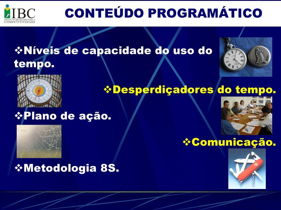 CONTEÚDO PROGRAMÁTICO Níveis de capacidade do uso do tempo. Desperdiçadores do tempo. Plano de ação. Comunicação. Metodologia 8S.