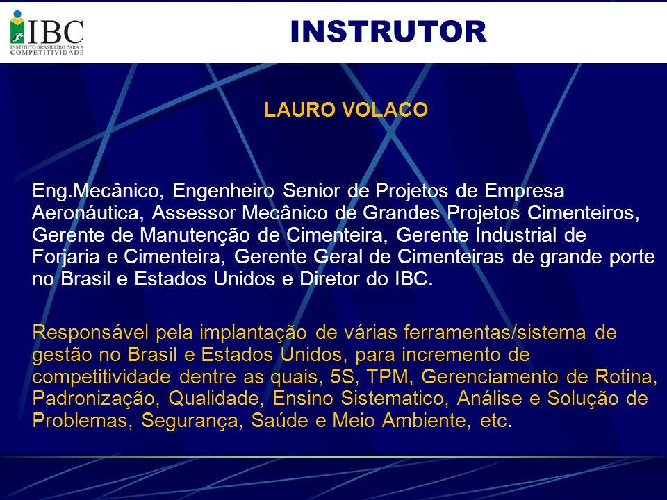 LAURO VOLACO Eng.Mecânico, Engenheiro Senior de Projetos de Empresa Aeronáutica, Assessor Mecânico de Grandes Projetos Cimenteiros, Gerente de Manuten