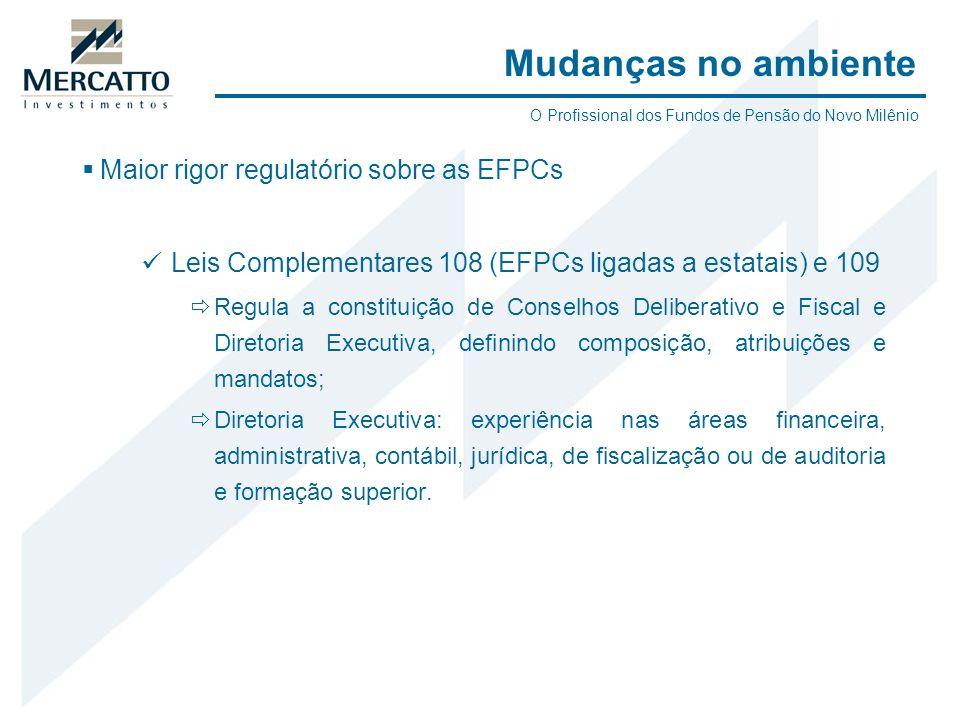 Maior rigor regulatório sobre as EFPCs Leis Complementares 108 (EFPCs ligadas a estatais) e 109 Regula a constituição de Conselhos Deliberativo e Fisc