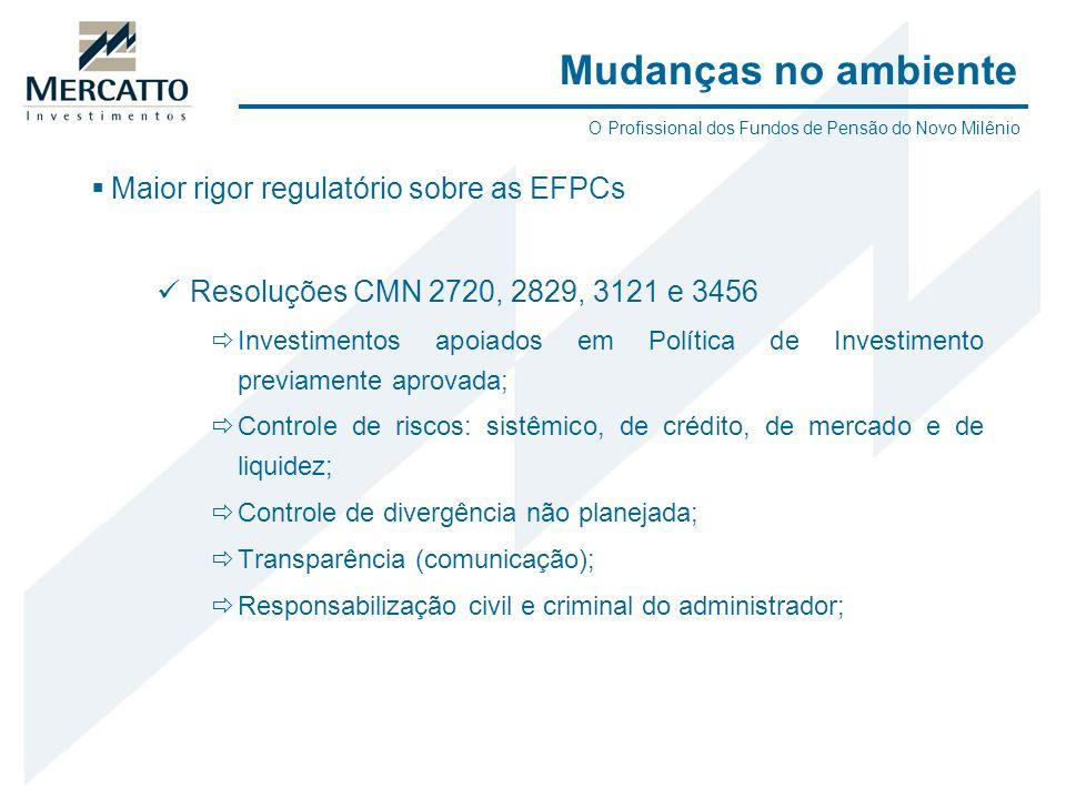 Maior rigor regulatório sobre as EFPCs Resoluções CMN 2720, 2829, 3121 e 3456 Investimentos apoiados em Política de Investimento previamente aprovada;