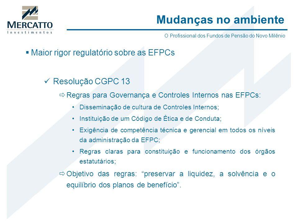 Maior rigor regulatório sobre as EFPCs Resolução CGPC 13 Regras para Governança e Controles Internos nas EFPCs: Disseminação de cultura de Controles I