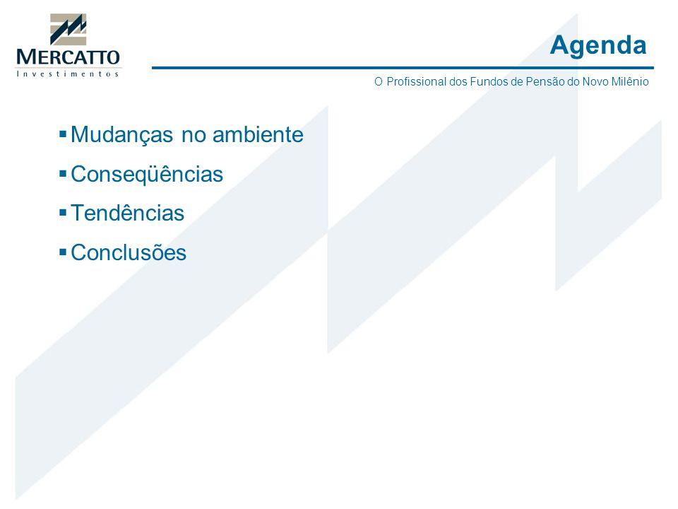 Mudanças no ambiente Conseqüências Tendências Conclusões Agenda O Profissional dos Fundos de Pensão do Novo Milênio