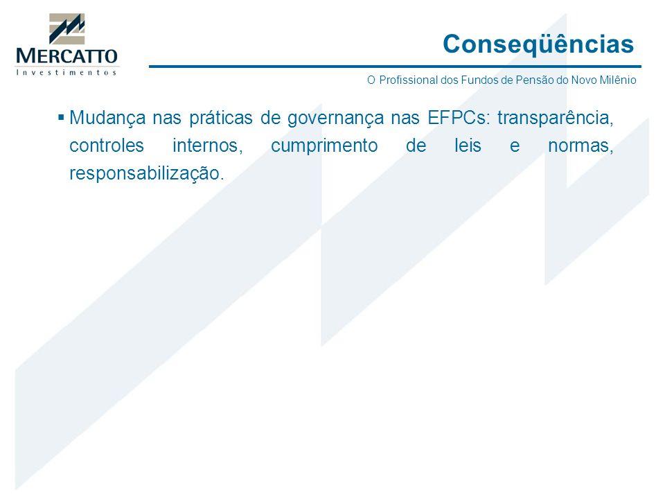 Mudança nas práticas de governança nas EFPCs: transparência, controles internos, cumprimento de leis e normas, responsabilização. Conseqüências O Prof