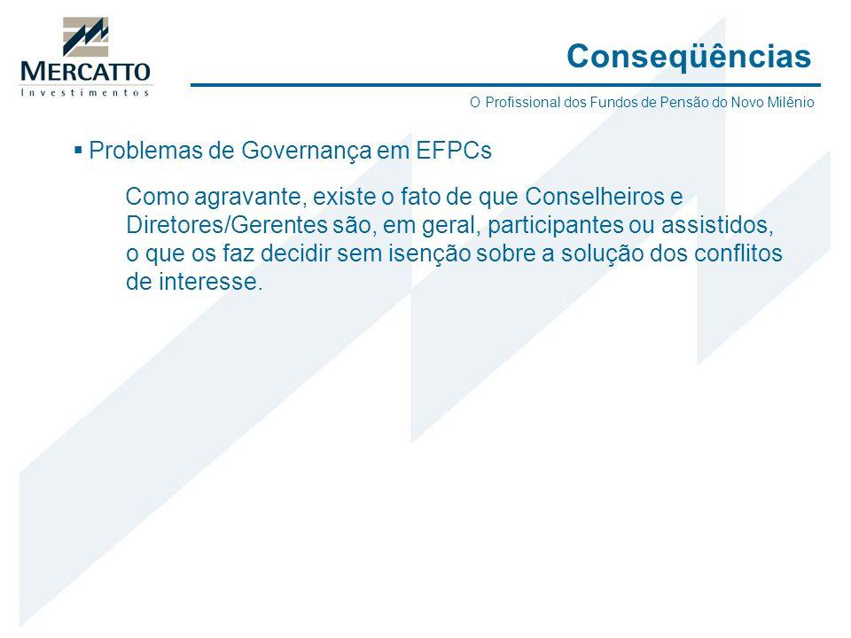 Problemas de Governança em EFPCs Como agravante, existe o fato de que Conselheiros e Diretores/Gerentes são, em geral, participantes ou assistidos, o