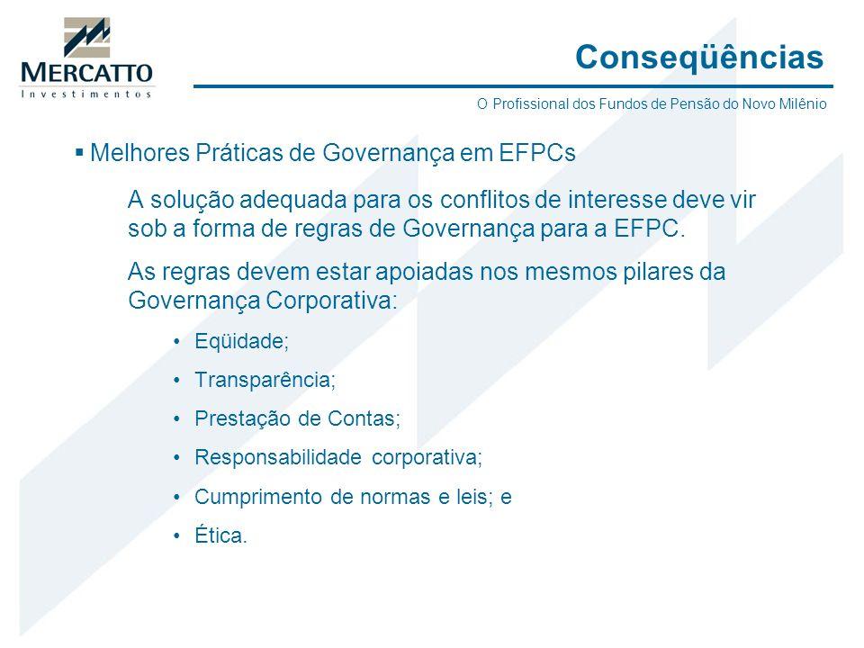 Melhores Práticas de Governança em EFPCs A solução adequada para os conflitos de interesse deve vir sob a forma de regras de Governança para a EFPC. A