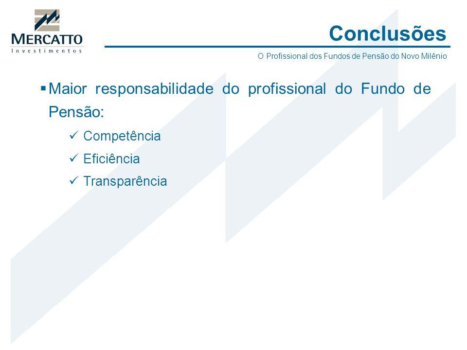 Conclusões Maior responsabilidade do profissional do Fundo de Pensão: Competência Eficiência Transparência O Profissional dos Fundos de Pensão do Novo