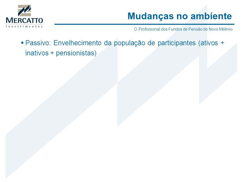 Passivo: Envelhecimento da população de participantes (ativos + inativos + pensionistas) Mudanças no ambiente O Profissional dos Fundos de Pensão do N