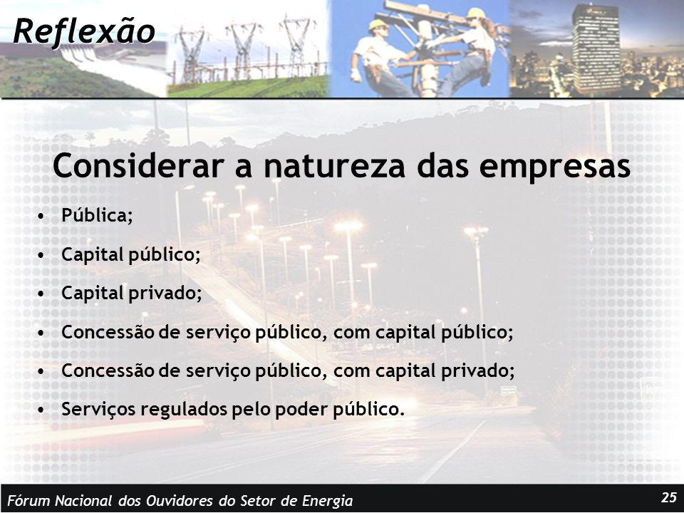 Fórum Nacional dos Ouvidores do Setor de Energia 25 Reflexão Considerar a natureza das empresas Pública; Capital público; Capital privado; Concessão de serviço público, com capital público; Concessão de serviço público, com capital privado; Serviços regulados pelo poder público.