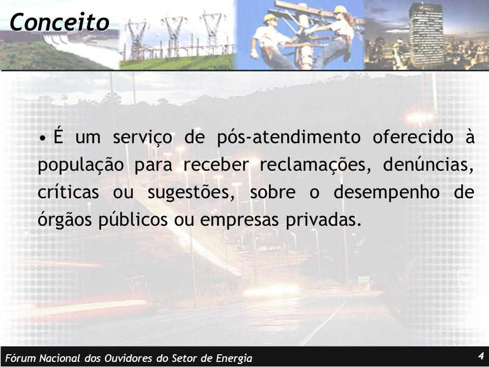 Fórum Nacional dos Ouvidores do Setor de Energia 4 Conceito É um serviço de pós-atendimento oferecido à população para receber reclamações, denúncias, críticas ou sugestões, sobre o desempenho de órgãos públicos ou empresas privadas.
