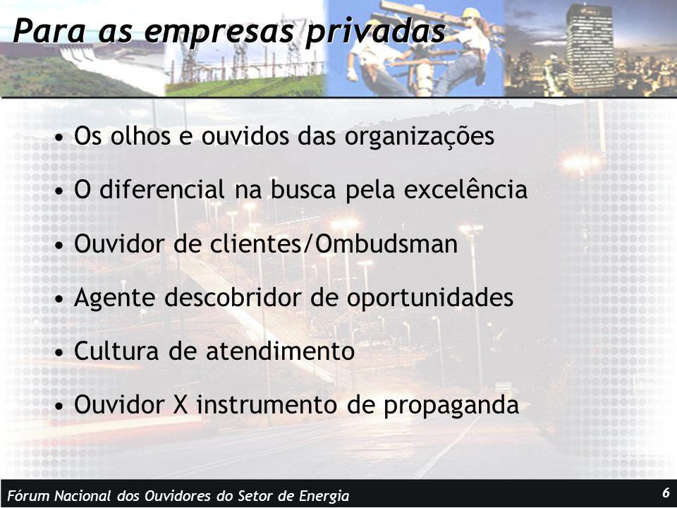 Fórum Nacional dos Ouvidores do Setor de Energia 7 Para as instituições públicas Em países de democracia avançada, o ombudsman é o investigador das queixas dos cidadãos contra os órgãos da administração pública.