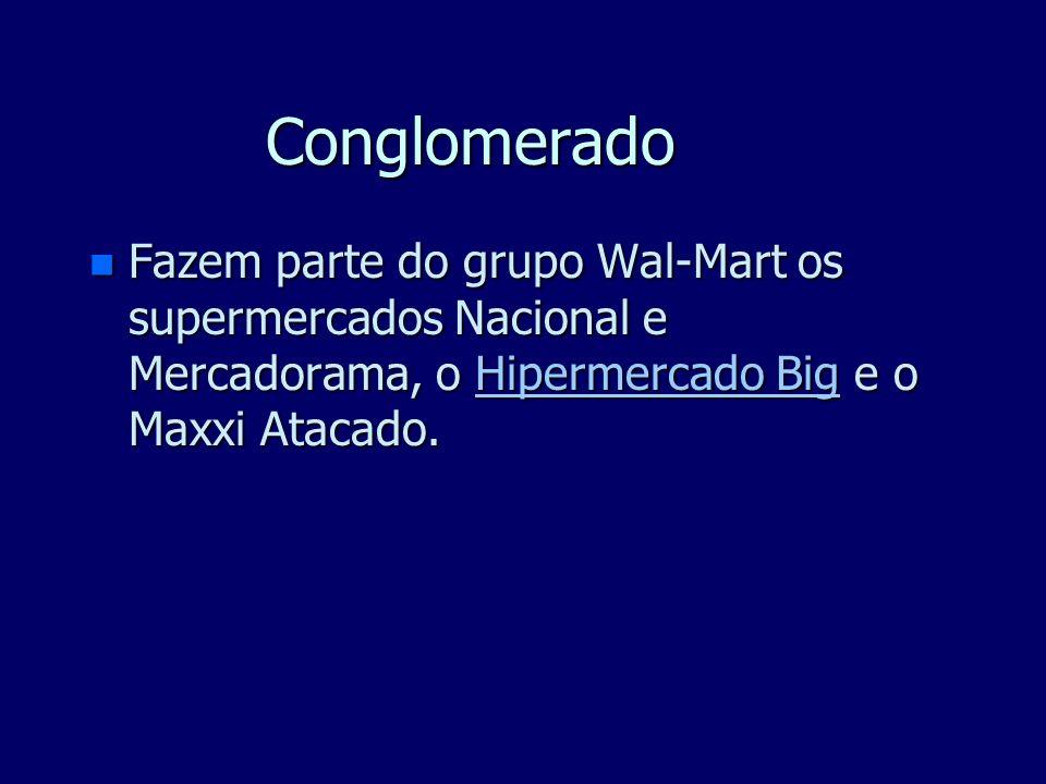 Conglomerado n Fazem parte do grupo Wal-Mart os supermercados Nacional e Mercadorama, o Hipermercado Big e o Maxxi Atacado.