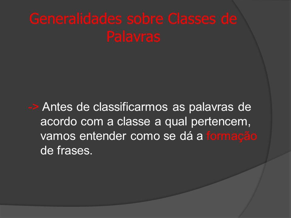 Generalidades sobre Classes de Palavras -> Antes de classificarmos as palavras de acordo com a classe a qual pertencem, vamos entender como se dá a fo