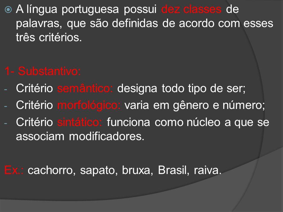 A língua portuguesa possui dez classes de palavras, que são definidas de acordo com esses três critérios. 1- Substantivo: - Critério semântico: design