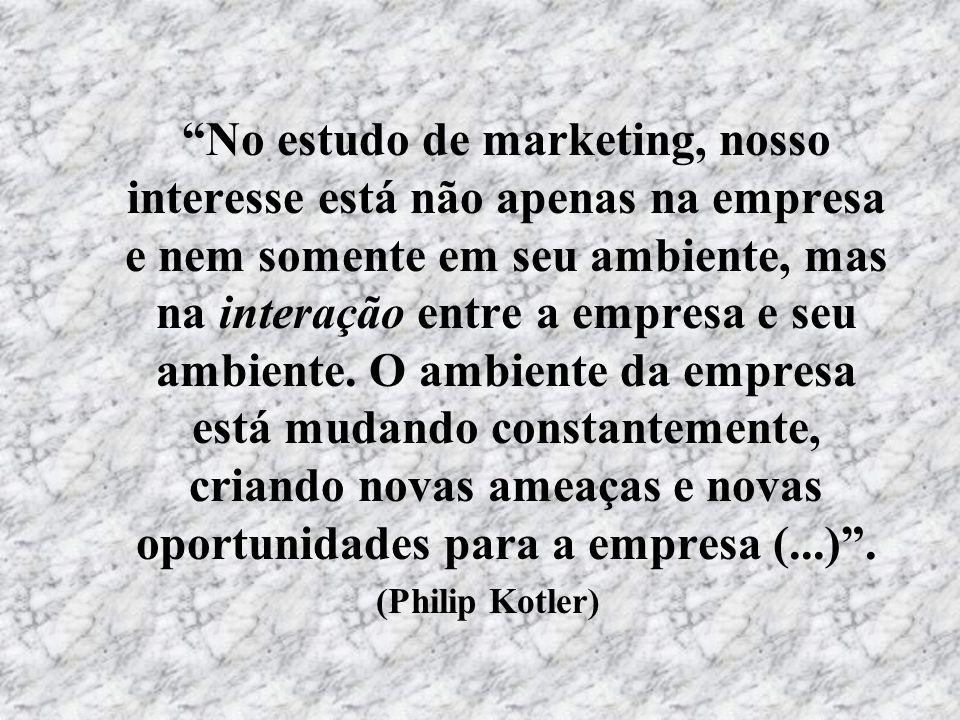 No estudo de marketing, nosso interesse está não apenas na empresa e nem somente em seu ambiente, mas na interação entre a empresa e seu ambiente. O a