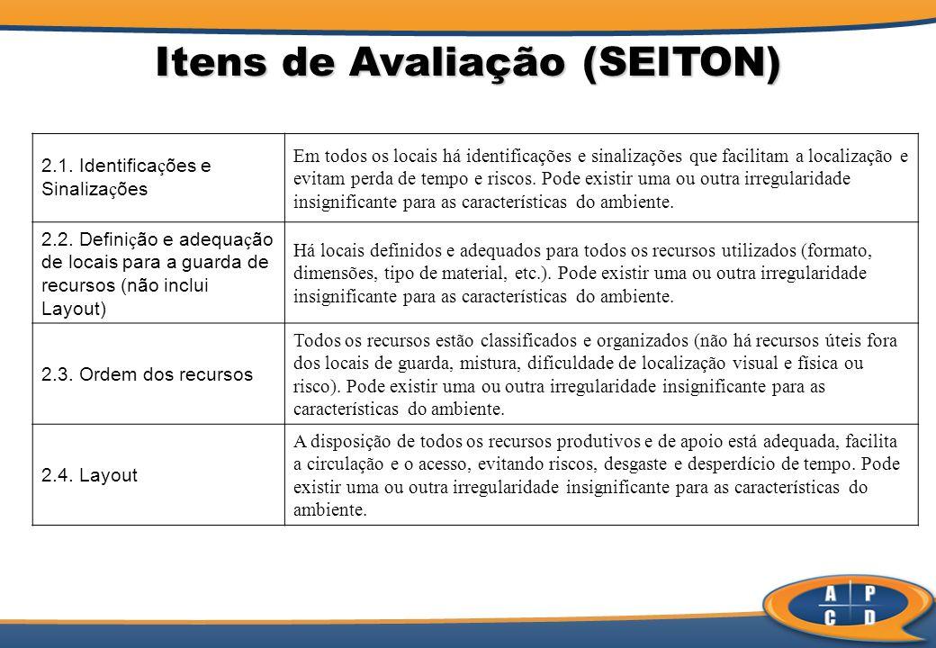 Itens de Avaliação (SEITON) 2.1. Identifica ç ões e Sinaliza ç ões Em todos os locais há identificações e sinalizações que facilitam a localização e e