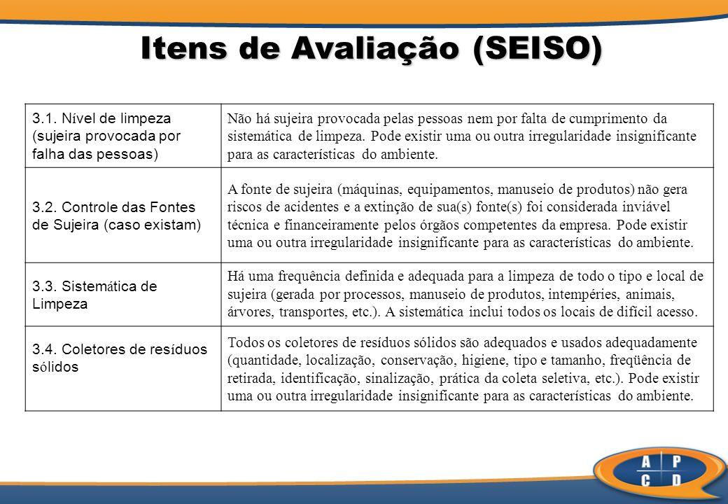 Itens de Avaliação (SEISO) 3.1. N í vel de limpeza (sujeira provocada por falha das pessoas) Não há sujeira provocada pelas pessoas nem por falta de c