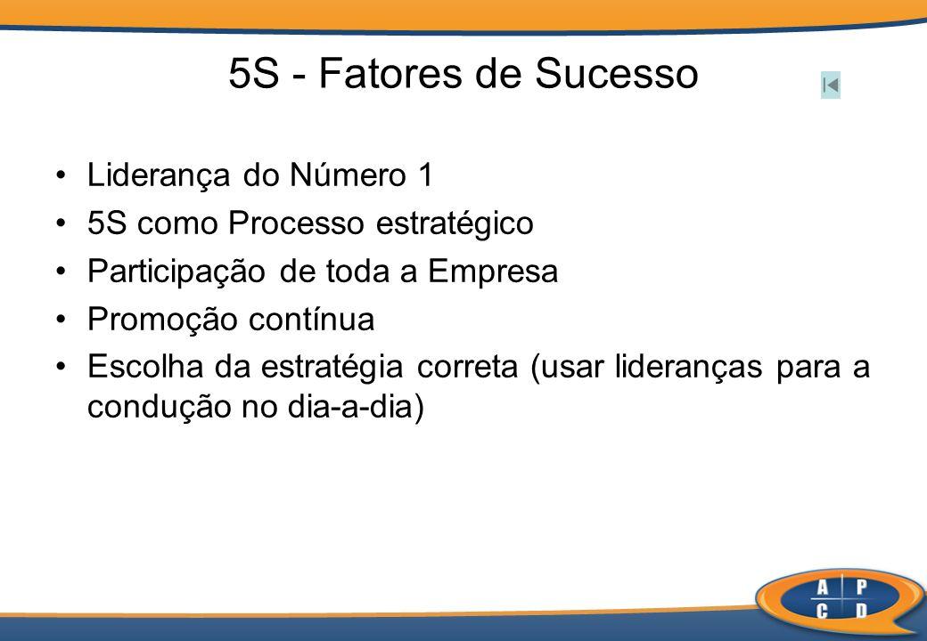 5S - Fatores de Sucesso Liderança do Número 1 5S como Processo estratégico Participação de toda a Empresa Promoção contínua Escolha da estratégia corr