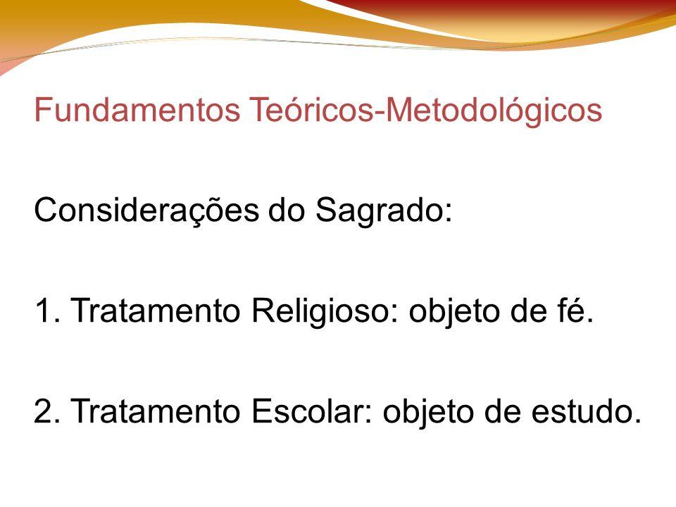 Fundamentos Teóricos-Metodológicos Considerações do Sagrado: 1.