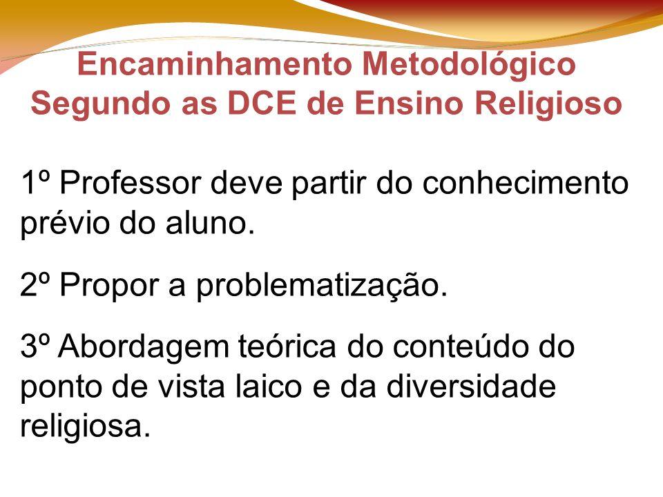 Encaminhamento Metodológico Segundo as DCE de Ensino Religioso 1º Professor deve partir do conhecimento prévio do aluno.