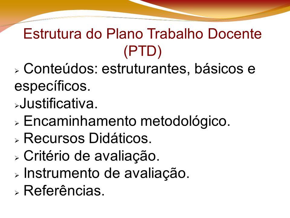 Estrutura do Plano Trabalho Docente (PTD) Conteúdos: estruturantes, básicos e específicos.