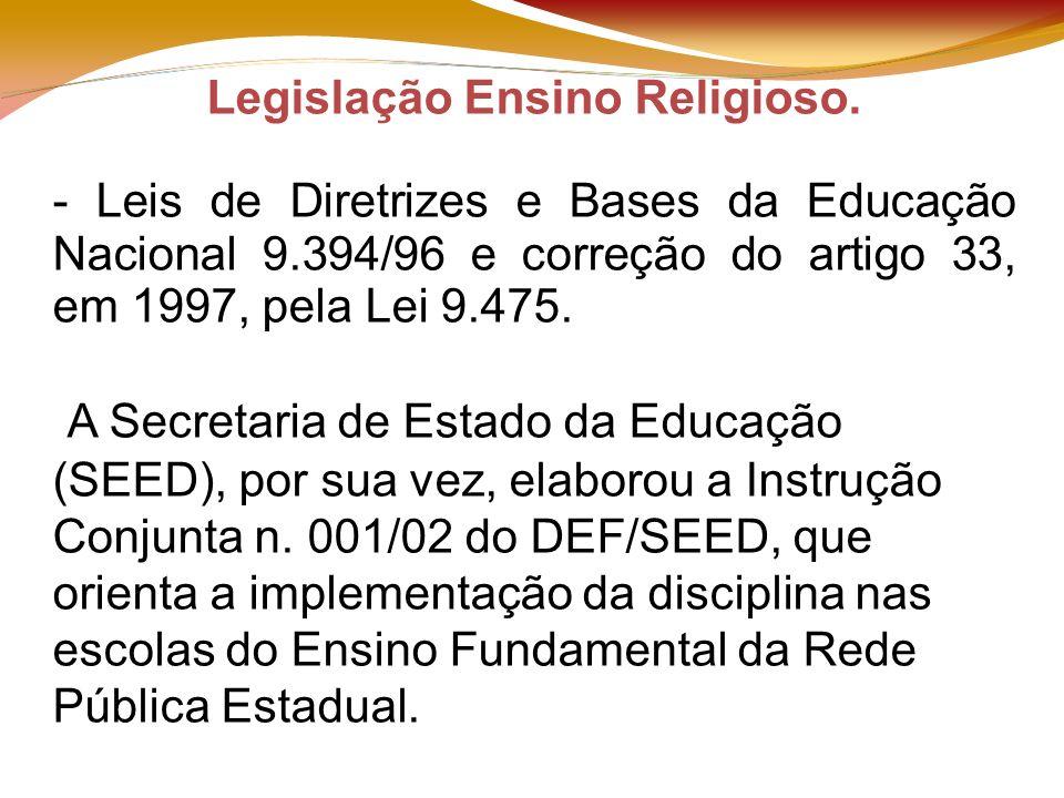 VISITA TÉCNICA – ENSINO RELIGIOSO Legislação Ensino Religioso.