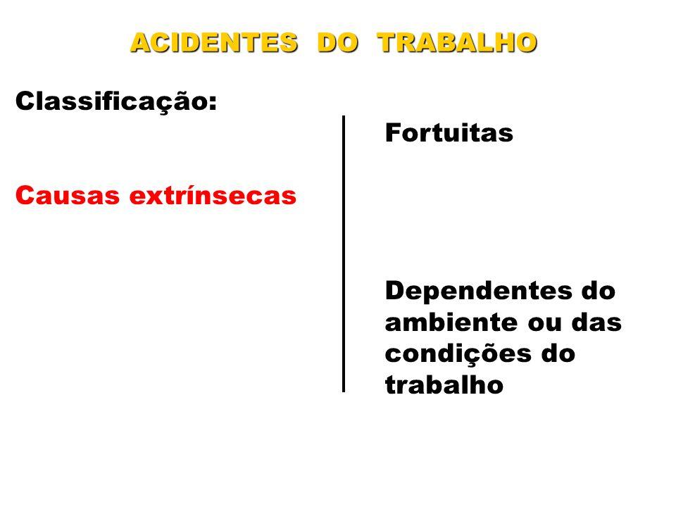ACIDENTES DO TRABALHO Classificação: Fortuitas Causas extrínsecas Dependentes do ambiente ou das condições do trabalho