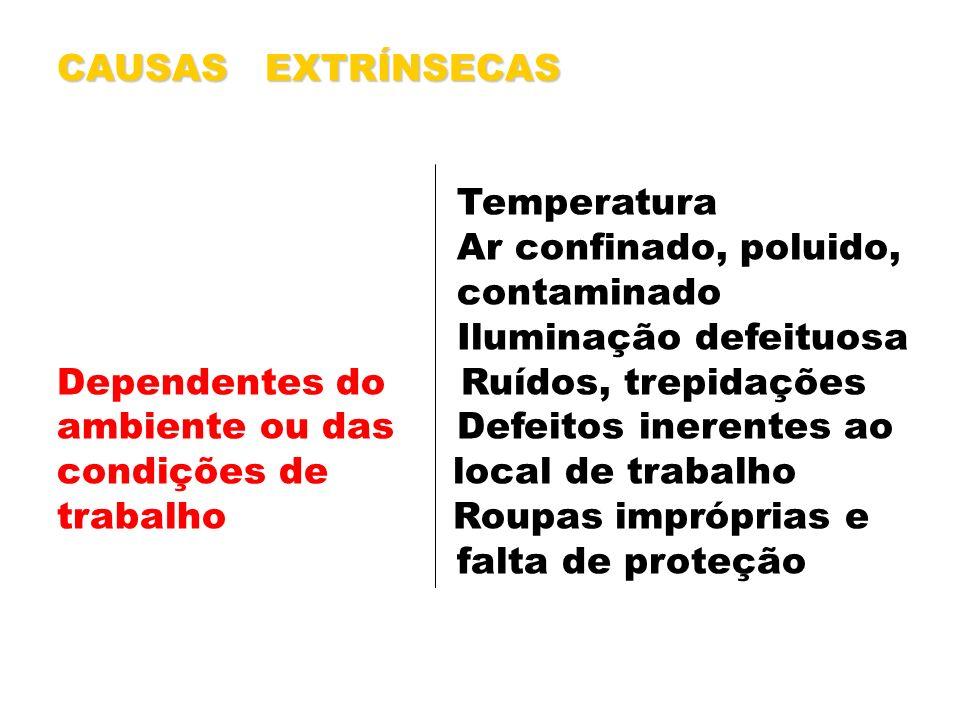 CAUSAS EXTRÍNSECAS Temperatura Ar confinado, poluido, contaminado Iluminação defeituosa Dependentes do Ruídos, trepidações ambiente ou das Defeitos in