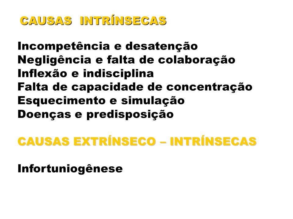 CAUSAS INTRÍNSECAS Incompetência e desatenção Negligência e falta de colaboração Inflexão e indisciplina Falta de capacidade de concentração Esquecime