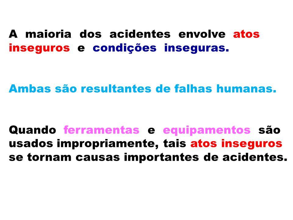 A maioria dos acidentes envolve atos inseguros e condições inseguras. Ambas são resultantes de falhas humanas. Quando ferramentas e equipamentos são u