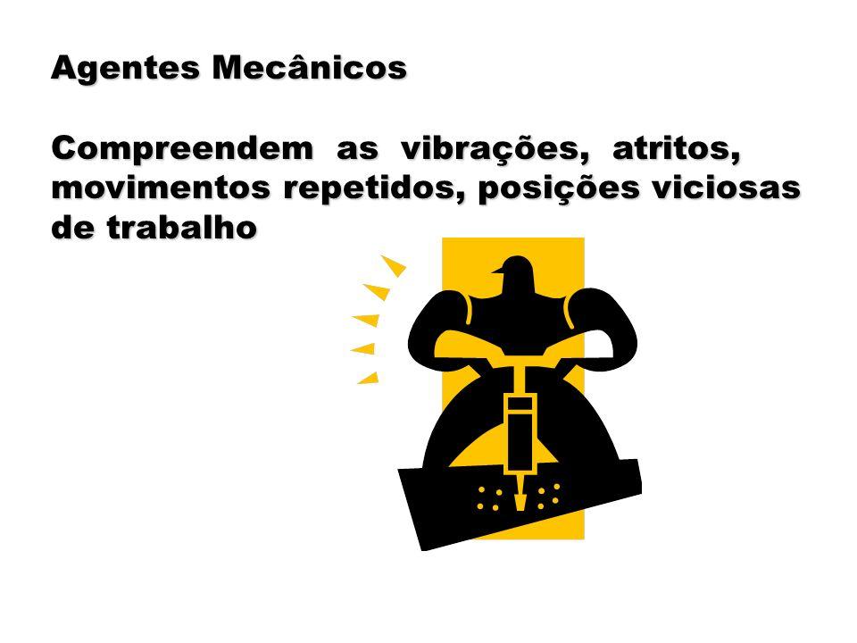 Agentes Mecânicos Compreendem as vibrações, atritos, movimentos repetidos, posições viciosas de trabalho