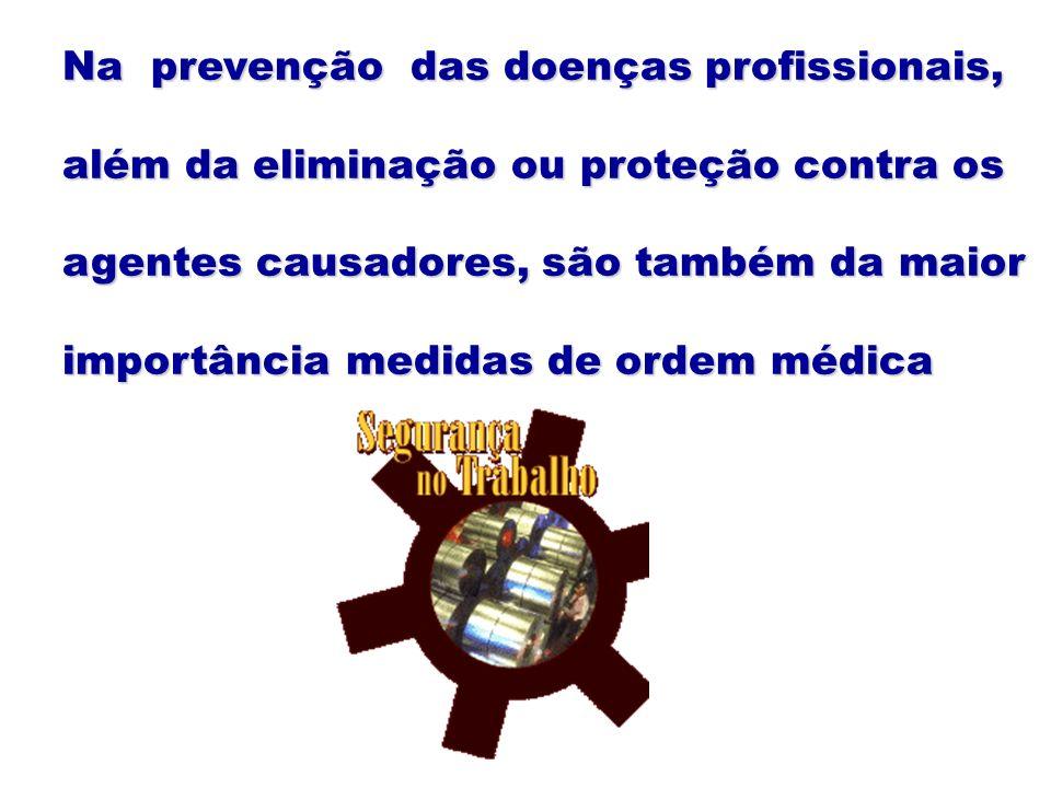 Na prevenção das doenças profissionais, além da eliminação ou proteção contra os agentes causadores, são também da maior importância medidas de ordem