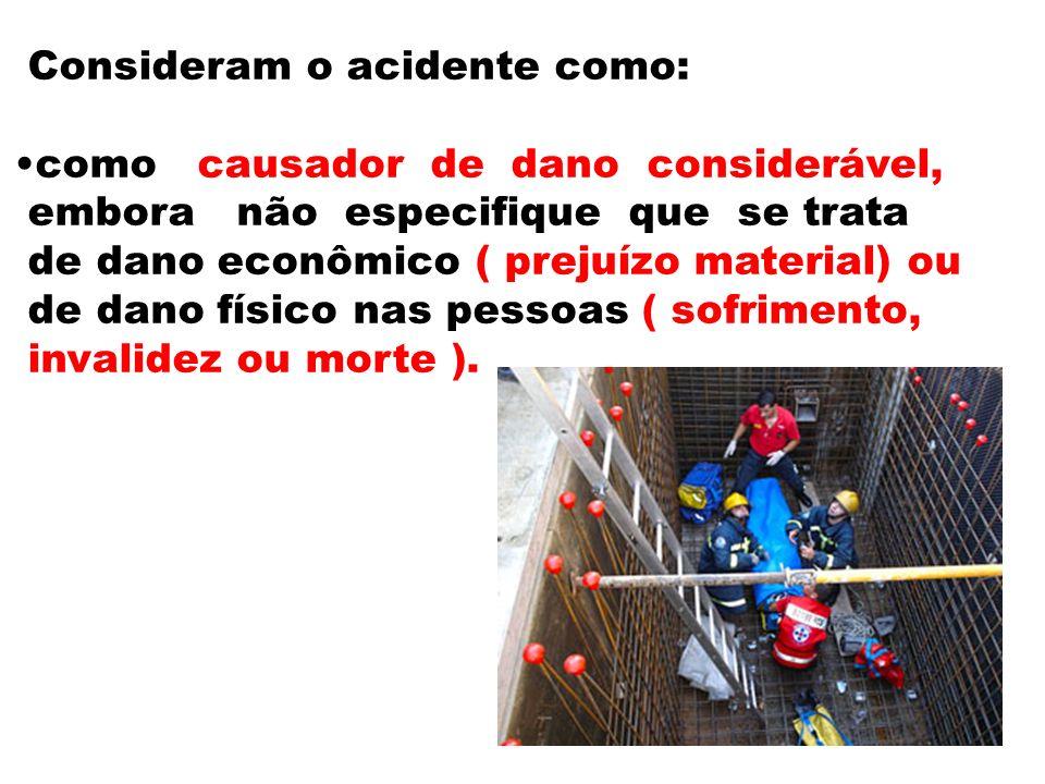 Consideram o acidente como: como causador de dano considerável, embora não especifique que se trata de dano econômico ( prejuízo material) ou de dano