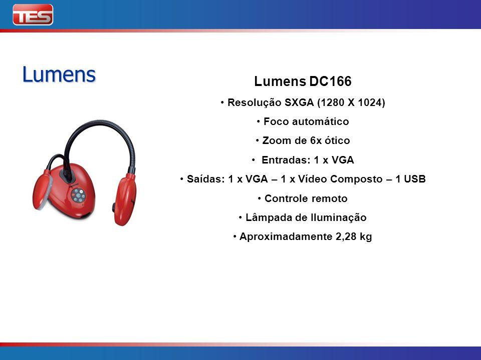 Lumens Lumens DC166 Resolução SXGA (1280 X 1024) Foco automático Zoom de 6x ótico Entradas: 1 x VGA Saídas: 1 x VGA – 1 x Vídeo Composto – 1 USB Contr