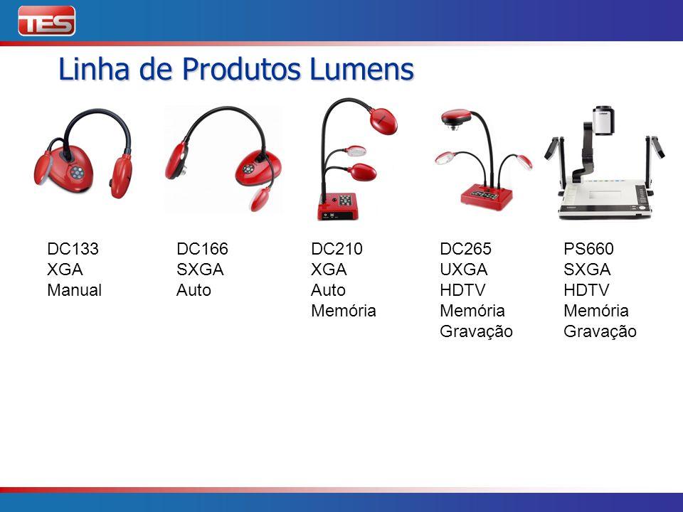 Linha de Produtos Lumens DC133 XGA Manual DC166 SXGA Auto DC210 XGA Auto Memória DC265 UXGA HDTV Memória Gravação PS660 SXGA HDTV Memória Gravação