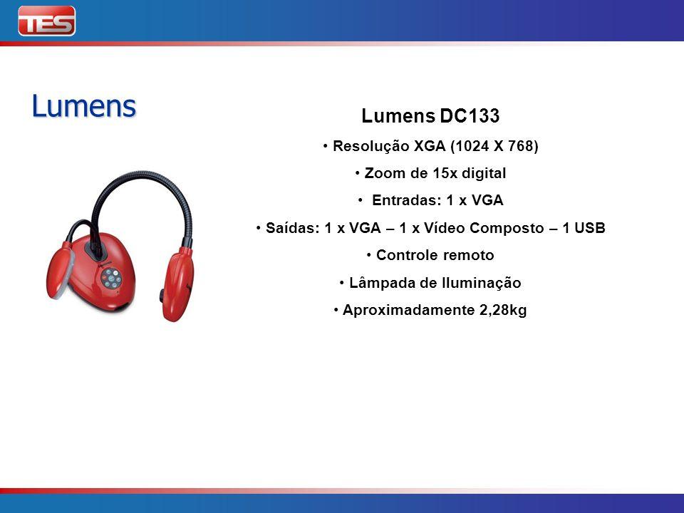 Lumens Lumens DC166 Resolução SXGA (1280 X 1024) Foco automático Zoom de 6x ótico Entradas: 1 x VGA Saídas: 1 x VGA – 1 x Vídeo Composto – 1 USB Controle remoto Lâmpada de Iluminação Aproximadamente 2,28 kg