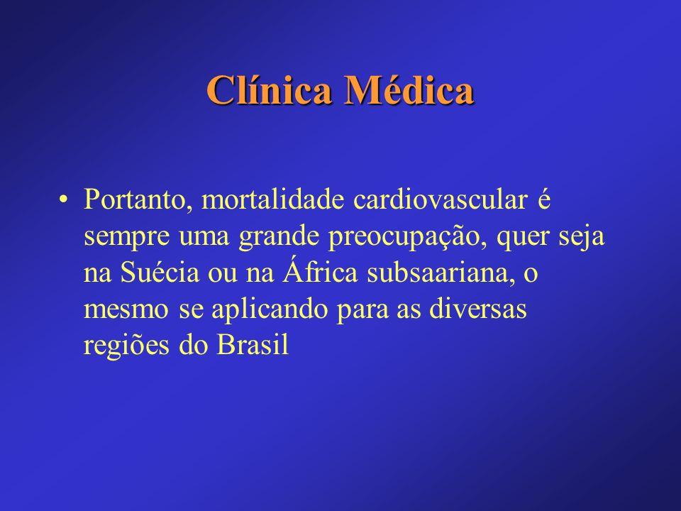 Clínica Médica Fatores de risco para mortalidade cardiovascular: –Hipertensão –Diabetes –Tabagismo –História familiar –Sexo e idade –Dislipidemia