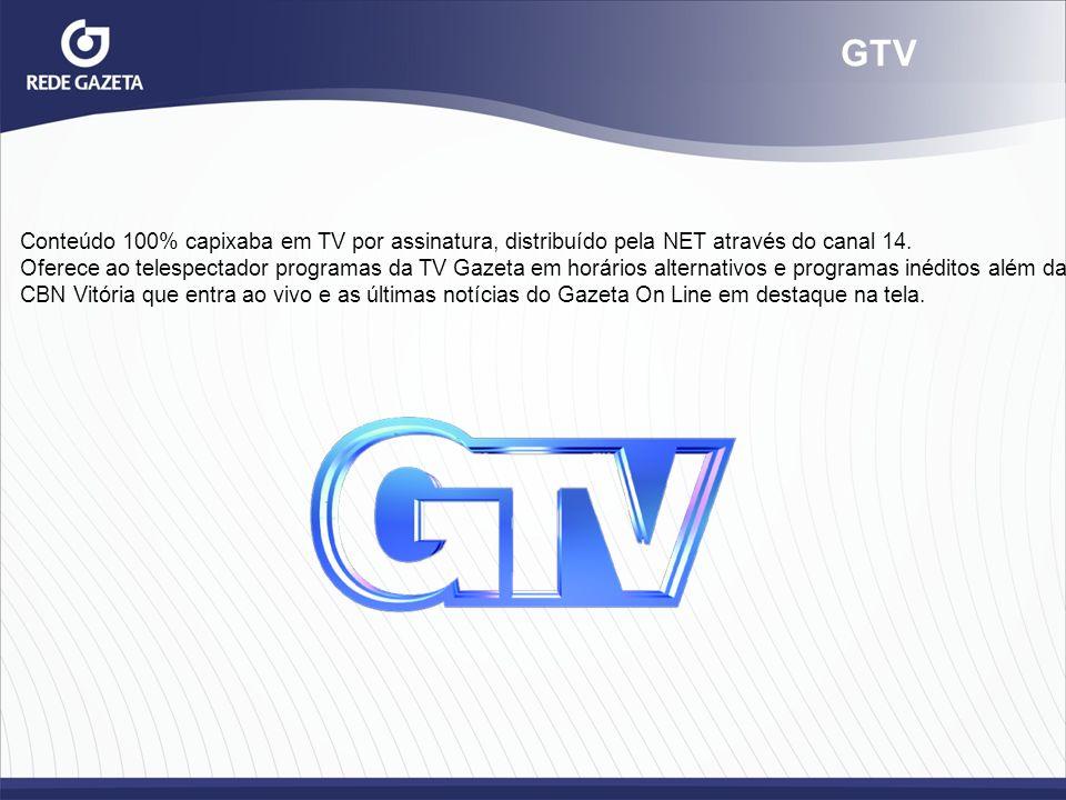 GTV Conteúdo 100% capixaba em TV por assinatura, distribuído pela NET através do canal 14. Oferece ao telespectador programas da TV Gazeta em horários