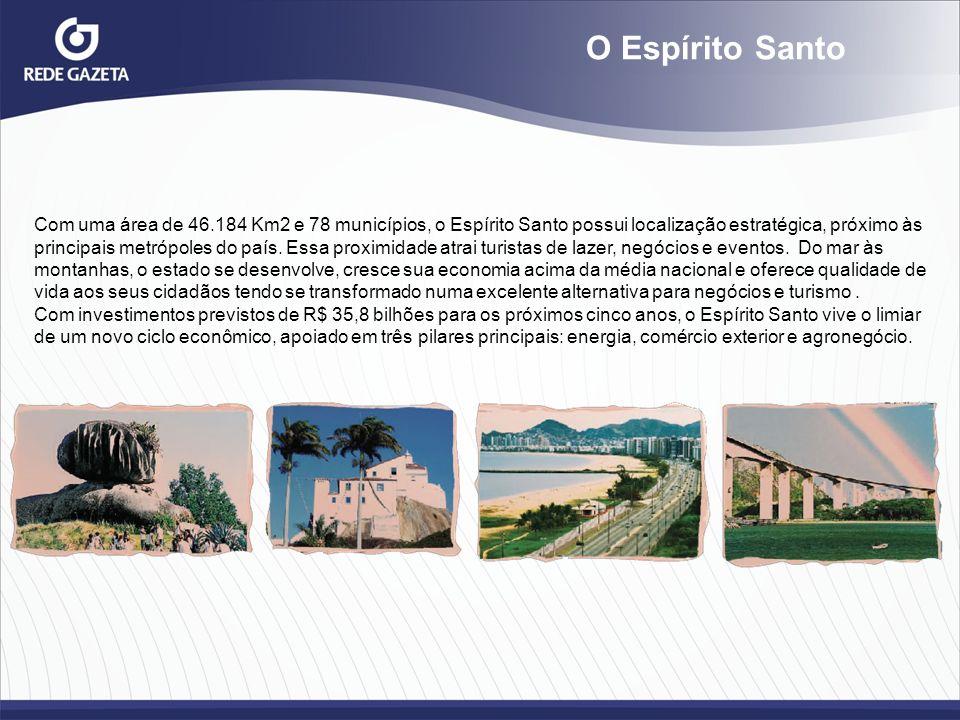 O Espírito Santo Com uma área de 46.184 Km2 e 78 municípios, o Espírito Santo possui localização estratégica, próximo às principais metrópoles do país